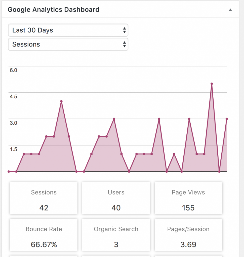 Google Analytics on WordPress Dashboard